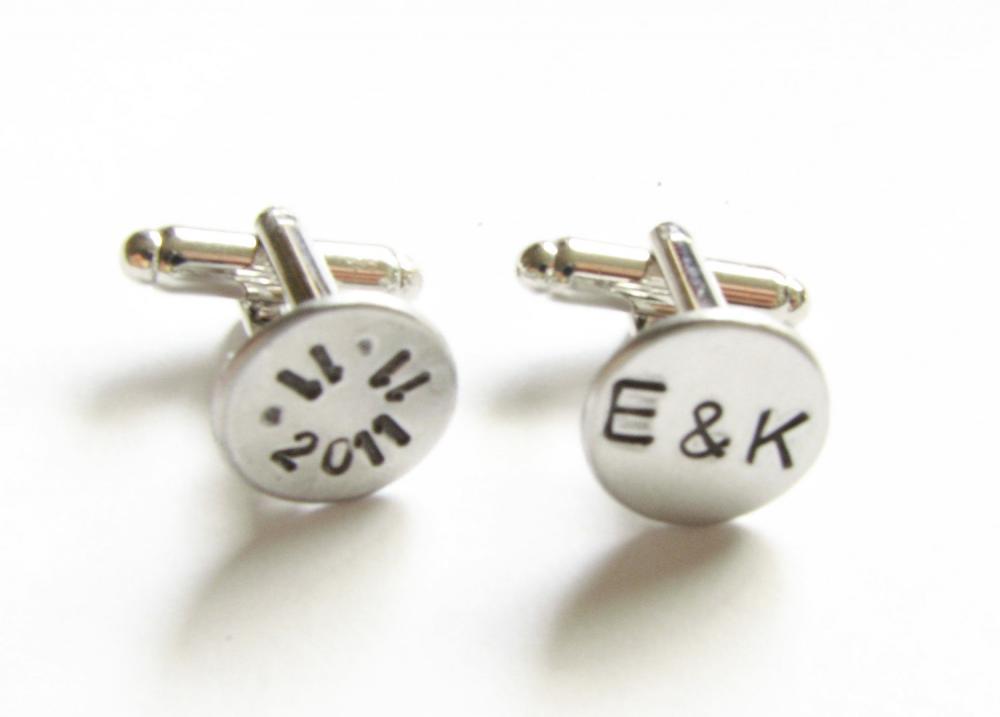 Date Initial Hand Stamped Wedding Cufflinks personalized keepsake gift for him guys custom cuff links