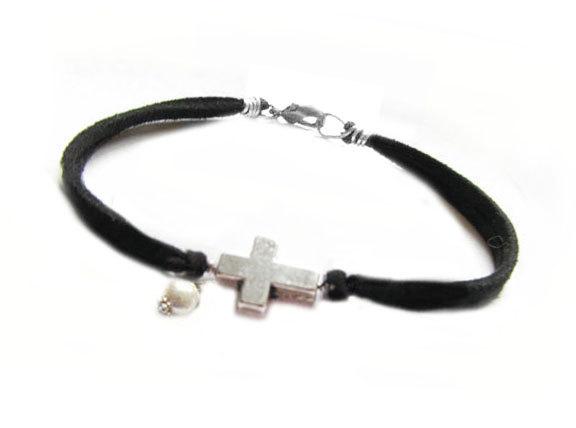 Silver Cross Bracelet Wire Wred Black Leather Suede Dangle Bead Jewelry Birthday Wedding