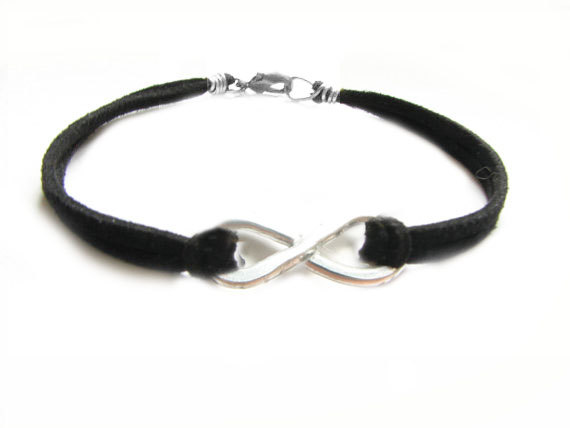 Hammered Knot Infinity Bracelet Uni Wire Wred Black Leather Suede Wear Two Side