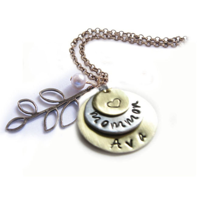 3 Leaf Hand Stamped Layered Necklace Personalized Birthstone Bead Charm Bronze Chain