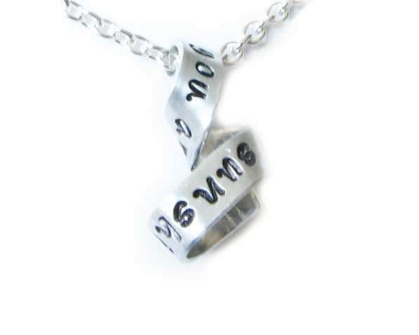 Sunshine Free-form Necklace You are my sunshine Hand Stamped Pendant Chain Swirl Jewelry