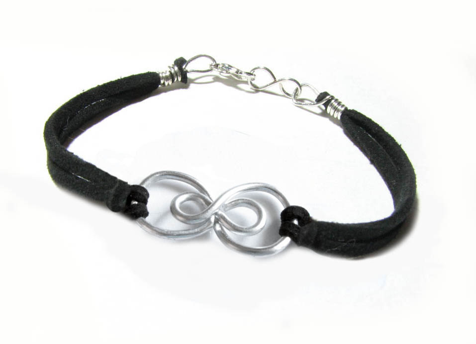 Silver Double Infinity Bracelet Wire Wrapped Black Leather Suede ...