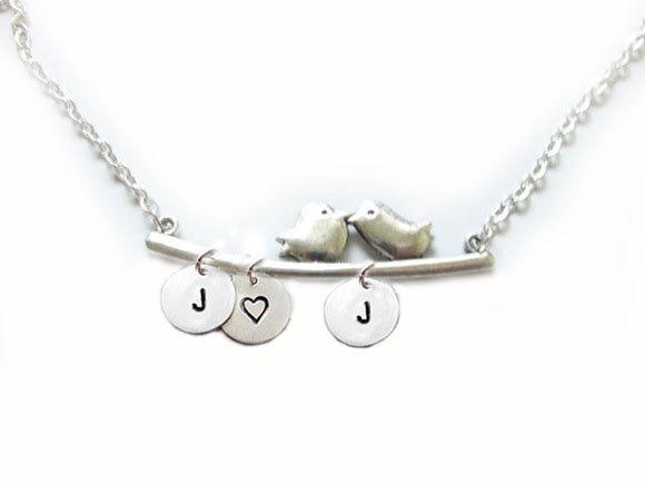 2 bird initial necklace custom metal hand stamped pendant