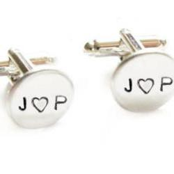 Initial Cufflinks Metal Hand Stamped Wedding personalized keepsake gift for him guys custom cuff links heart love