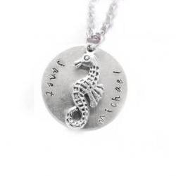 Silver Seahorse pendant Hand Stamped Necklace Personalized Jewelry chain choose Aluminum or Brass or Copper