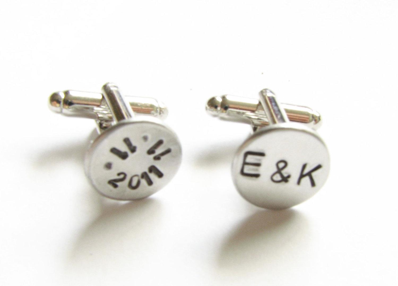 Date Initial Hand Stamped Wedding Cufflinks Personalized Keepsake